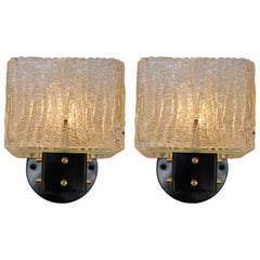 Pair of Italian 1960's Texture Glass Wall Sconces