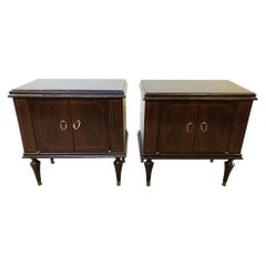 Pair of Italian 1960's Walnut Nightstands with Black Glass