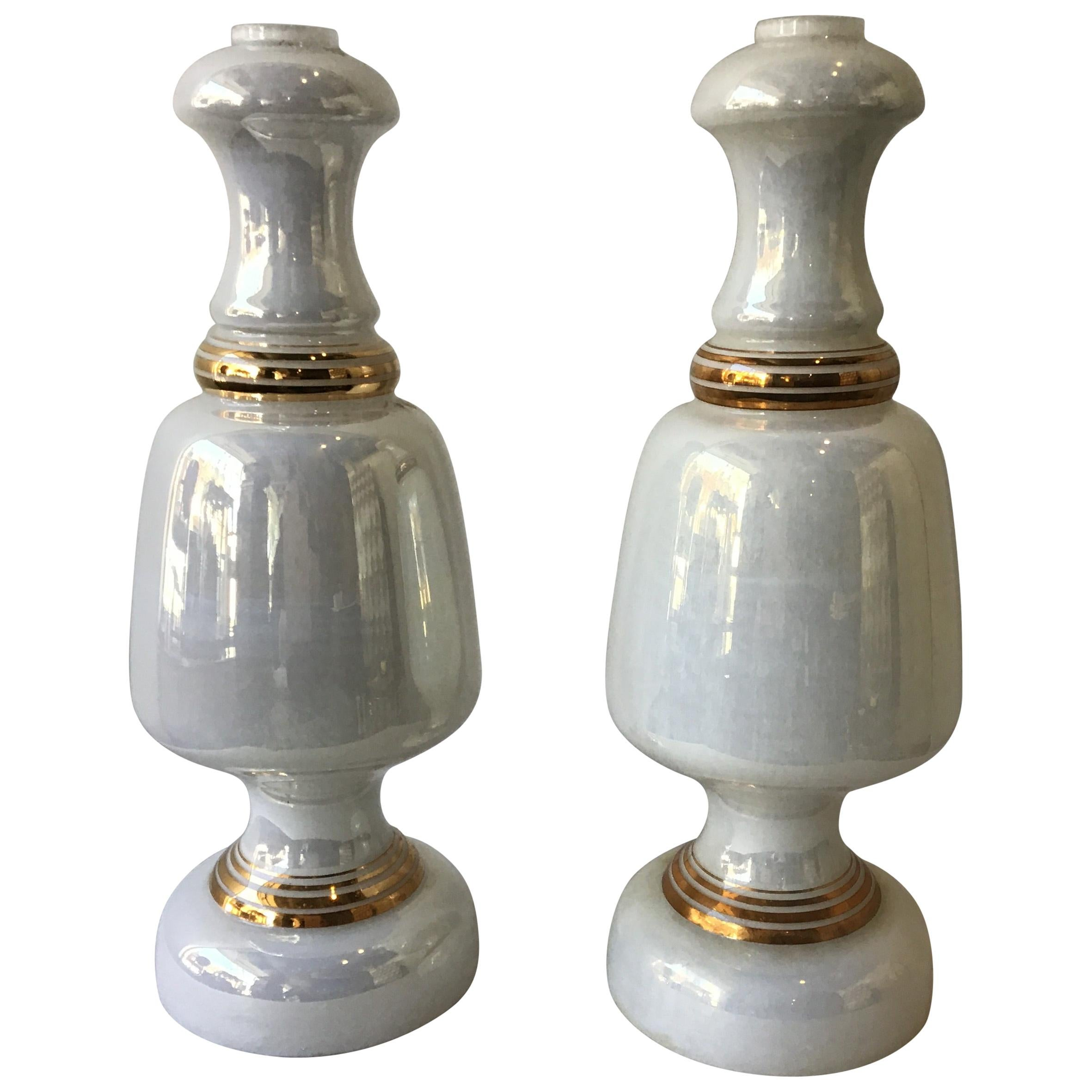 Pair of Italian 1960s White Iridescent Glass Lamps with Gilt Accents
