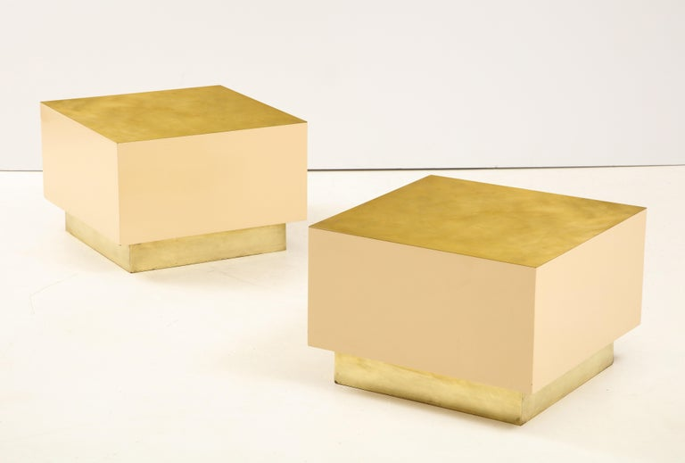 Pair of Italian 1970s Brass and Lacquer Cube Form Coffee Tables For Sale 6