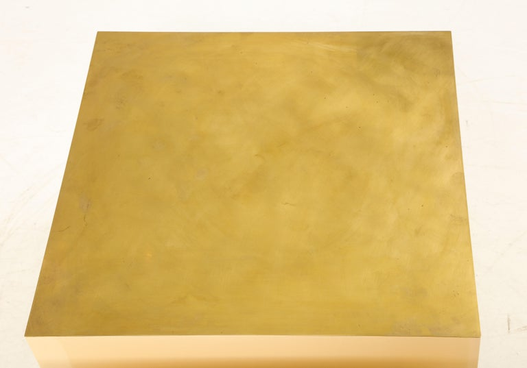 Late 20th Century Pair of Italian 1970s Brass and Lacquer Cube Form Coffee Tables For Sale