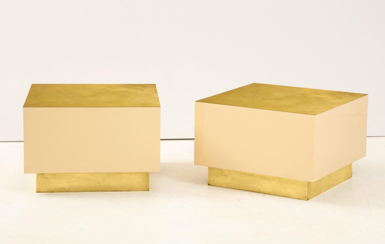 Pair of Italian 1970s Brass and Lacquer Cube Form Coffee Tables For Sale 3