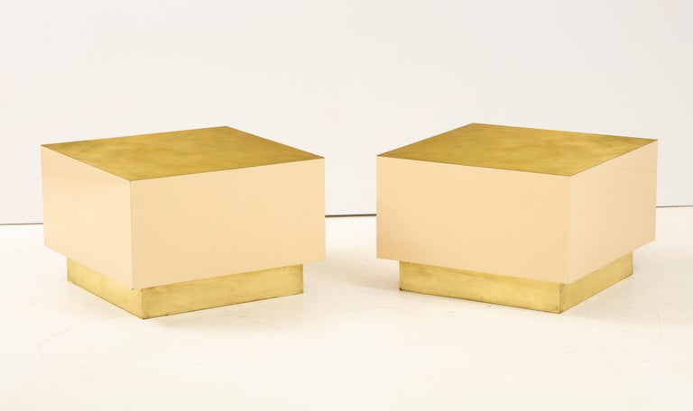 Pair of Italian 1970s Brass and Lacquer Cube Form Coffee Tables For Sale 4