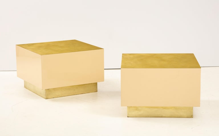 Pair of Italian 1970s Brass and Lacquer Cube Form Coffee Tables For Sale 5