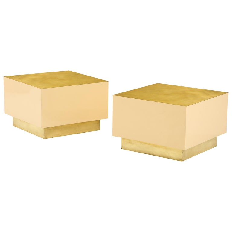 Pair of Italian 1970s Brass and Lacquer Cube Form Coffee Tables For Sale