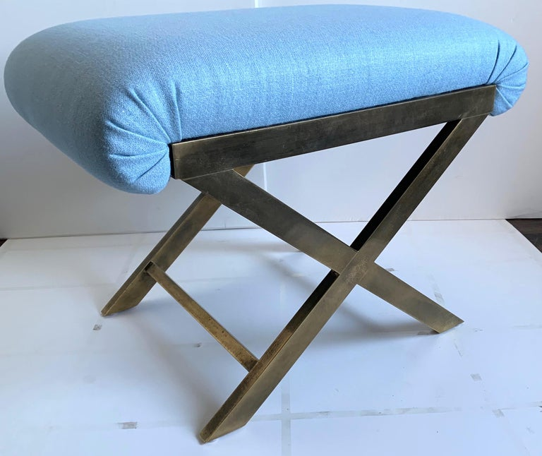 Mid-Century Modern Pair of Italian 1970s Brass X-Benches For Sale
