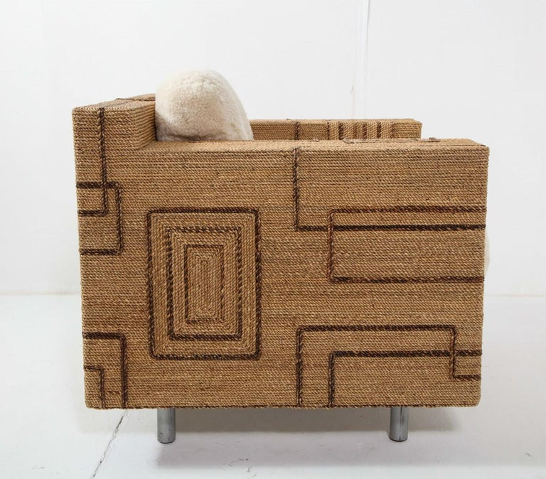Pair of Italian 1970s Rope-Inlaid Lounge Chairs with New Shearling Cushions For Sale 4