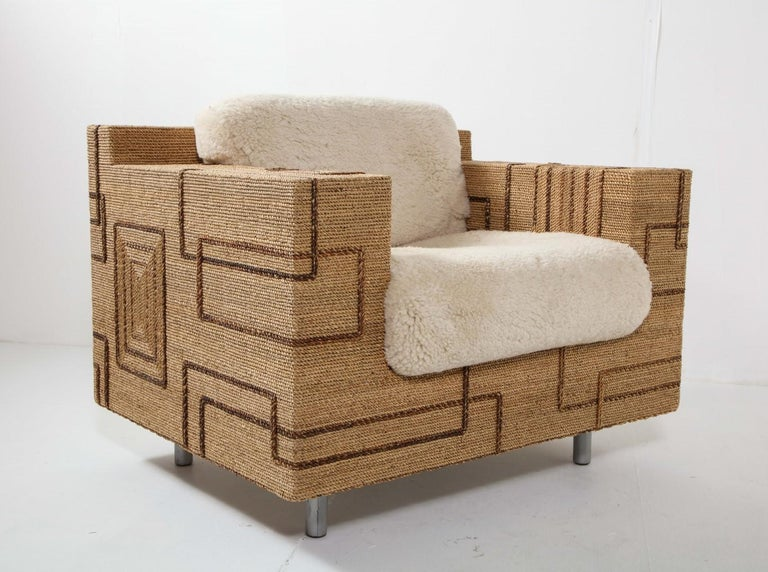Pair of Italian 1970s Rope-Inlaid Lounge Chairs with New Shearling Cushions For Sale 5