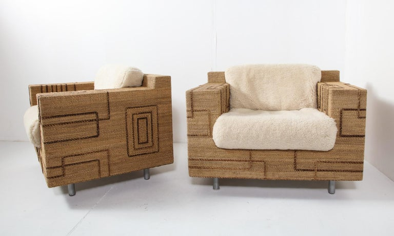 Pair of Italian 1970s Rope-Inlaid Lounge Chairs with New Shearling Cushions For Sale 7