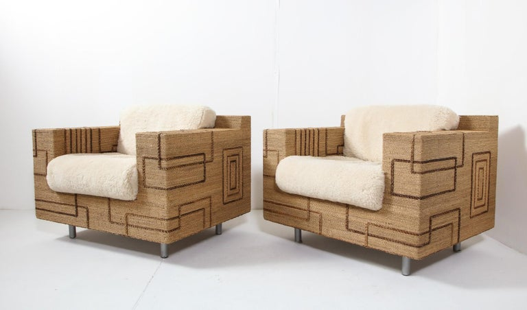 Pair of Italian 1970s Rope-Inlaid Lounge Chairs with New Shearling Cushions For Sale 8