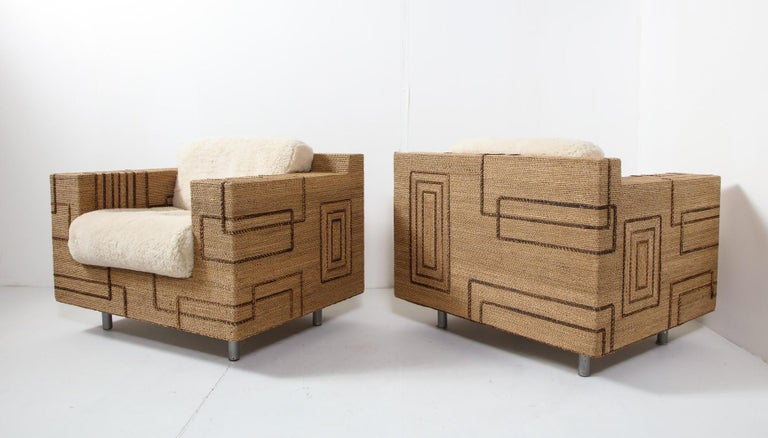 Pair of Italian 1970s Rope-Inlaid Lounge Chairs with New Shearling Cushions For Sale 9