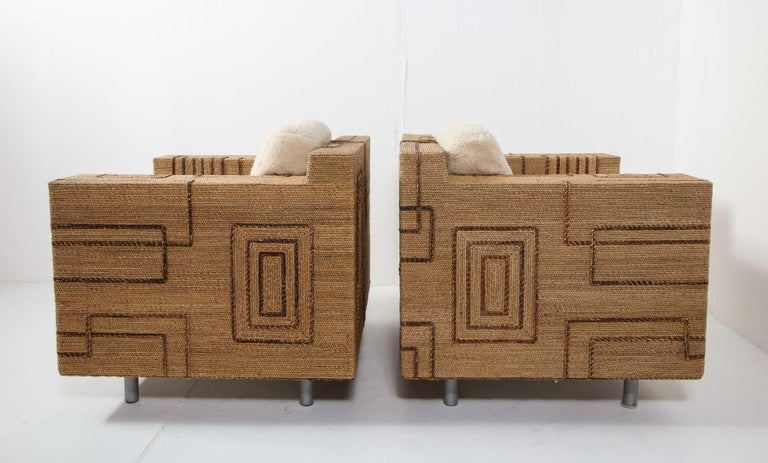 Pair of Italian 1970s Rope-Inlaid Lounge Chairs with New Shearling Cushions For Sale 10