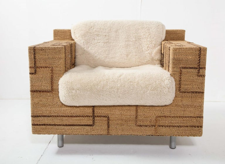 Mid-Century Modern Pair of Italian 1970s Rope-Inlaid Lounge Chairs with New Shearling Cushions For Sale