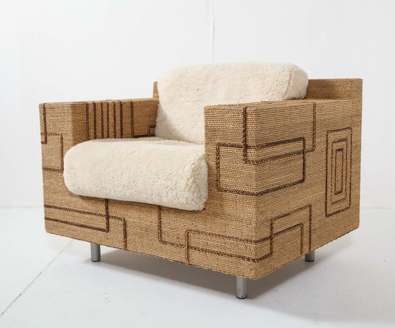 Pair of Italian 1970s Rope-Inlaid Lounge Chairs with New Shearling Cushions In Good Condition For Sale In Chicago, IL