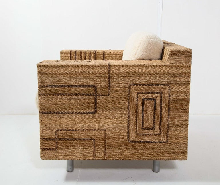 Sheepskin Pair of Italian 1970s Rope-Inlaid Lounge Chairs with New Shearling Cushions For Sale