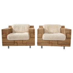 Pair of Italian 1970s Rope-Inlaid Lounge Chairs with New Shearling Cushions