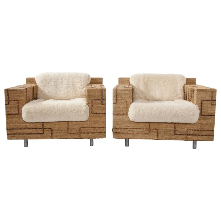 Pair of Italian 1970s Rope-Inlaid Lounge Chairs with New Shearling Cushions For Sale
