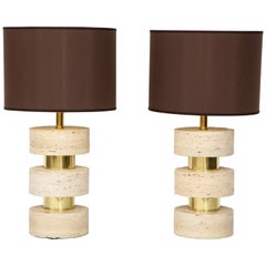 Pair of Italian 1970s Travertine and Brass Table Lamps
