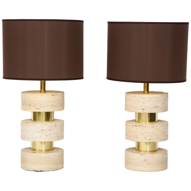 Pair of Italian 1970s Travertine and Brass Table Lamps For Sale