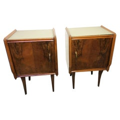 Pair of Italian 1970's Walnut Nightstands with Grey Glass Scandinavian Style