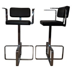 Pair of Italian 1980s Modern Contemporary Swivel Chrome Leather Bar Stools