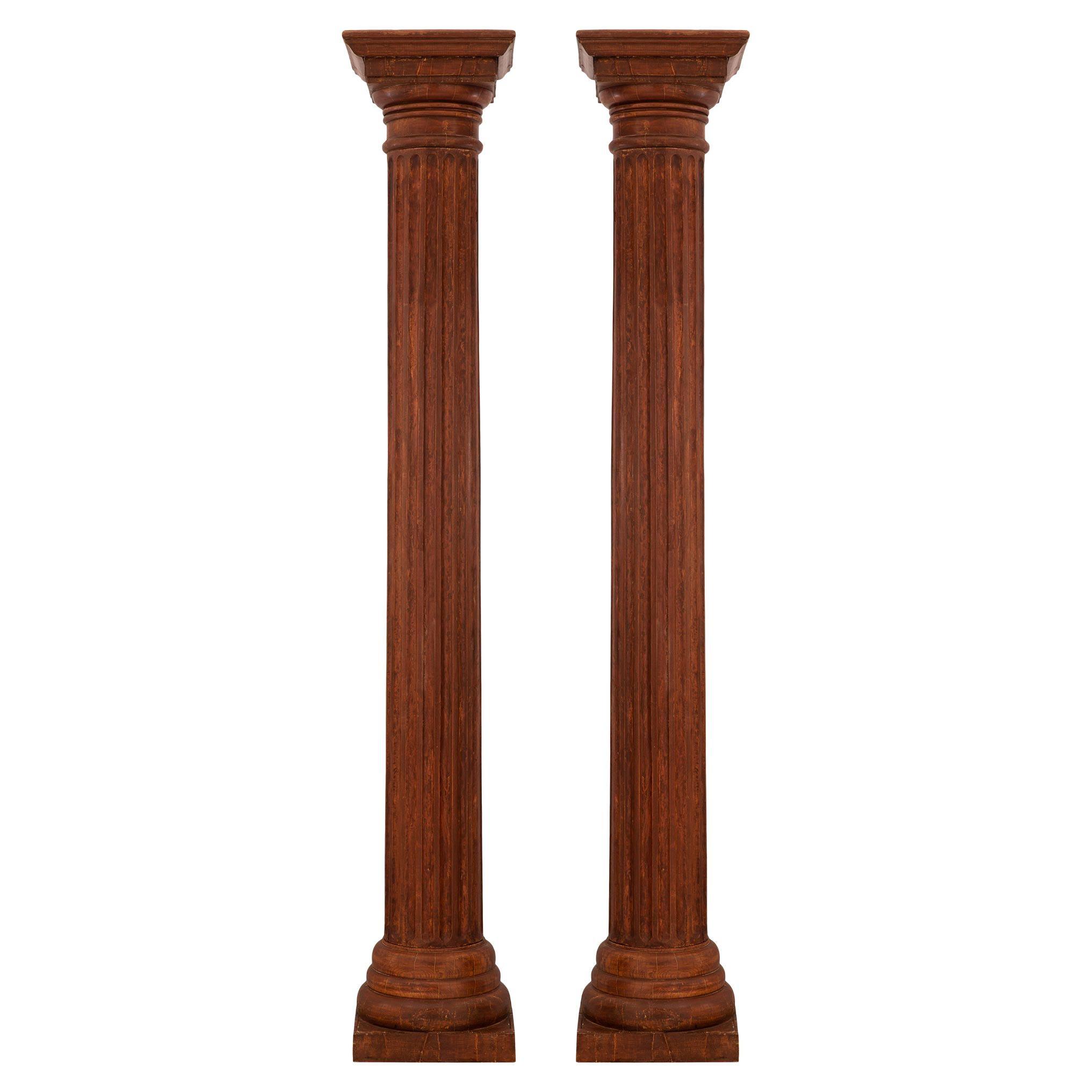 Pair of Italian 19th Century Architectural Wood Columns