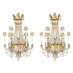 Pair of Italian 19th Century Baccarat Crystal and Gilt Iron Chandeliers