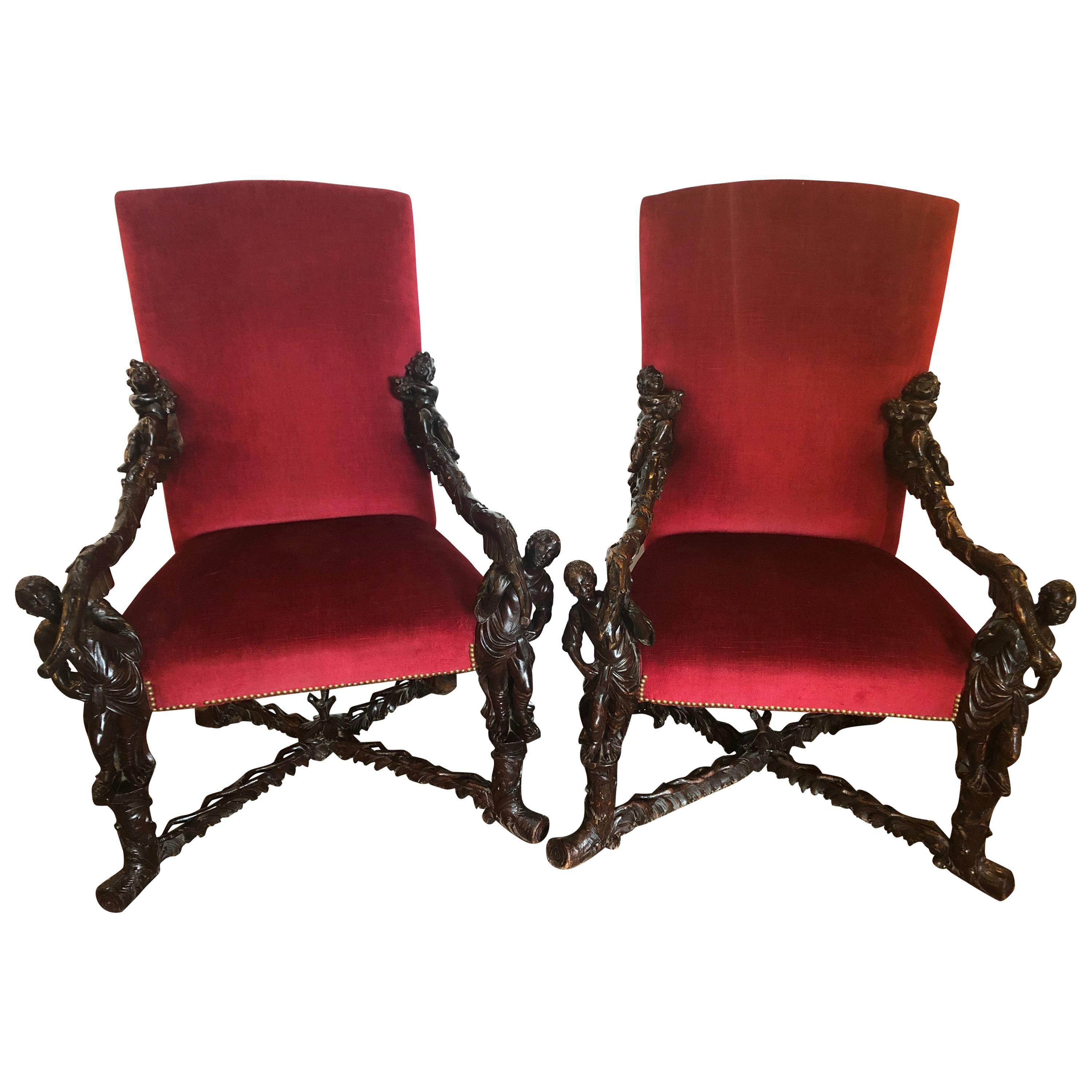 Pair of Italian 19th Century Baroque Carved Arm Throne Chairs, Figural Carvings