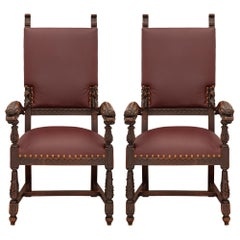 Pair of Italian 19th Century Baroque St. Dark Oak and Leather Throne Armchairs