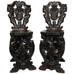 Pair of Italian 19th Century Baroque Style Carved Walnut Sgabello Side Chairs