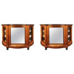 Pair of Italian 19th Century Bird's-Eye Maple Cabinet Vitrines from Naples