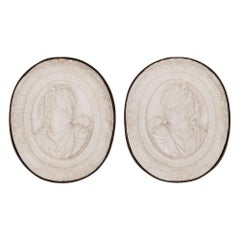 Pair of Italian 19th Century Carrara Marble and Iron Decorative Wall Plaques
