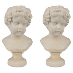 Pair of Italian 19th Century Carrara Marble Bust of Young Bacchus