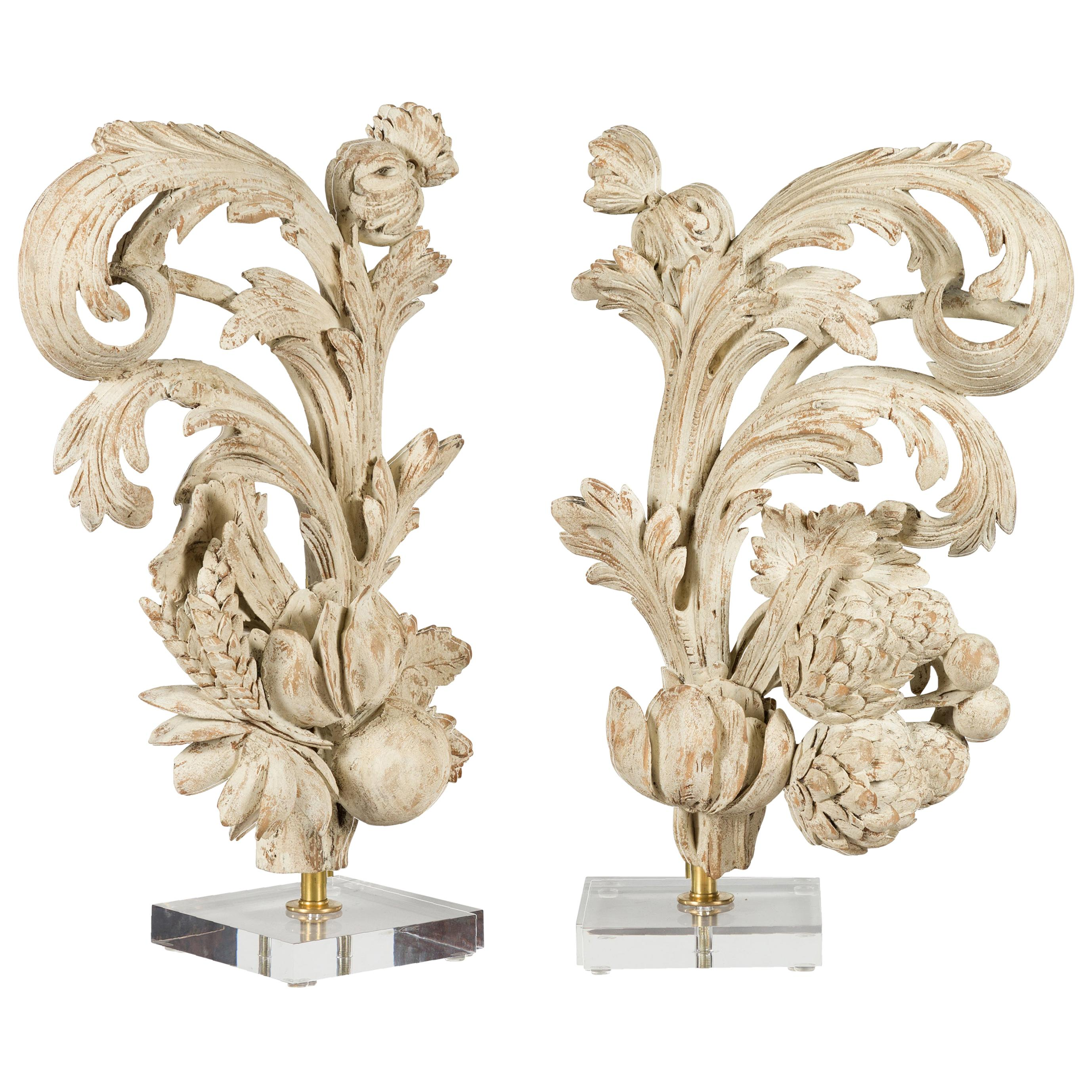 Pair of Italian 19th Century Carved Fruit and Foliage Fragments on Lucite Bases