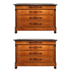 Pair of Italian 19th Century Charles X Period Cherrywood and Marble Commodes
