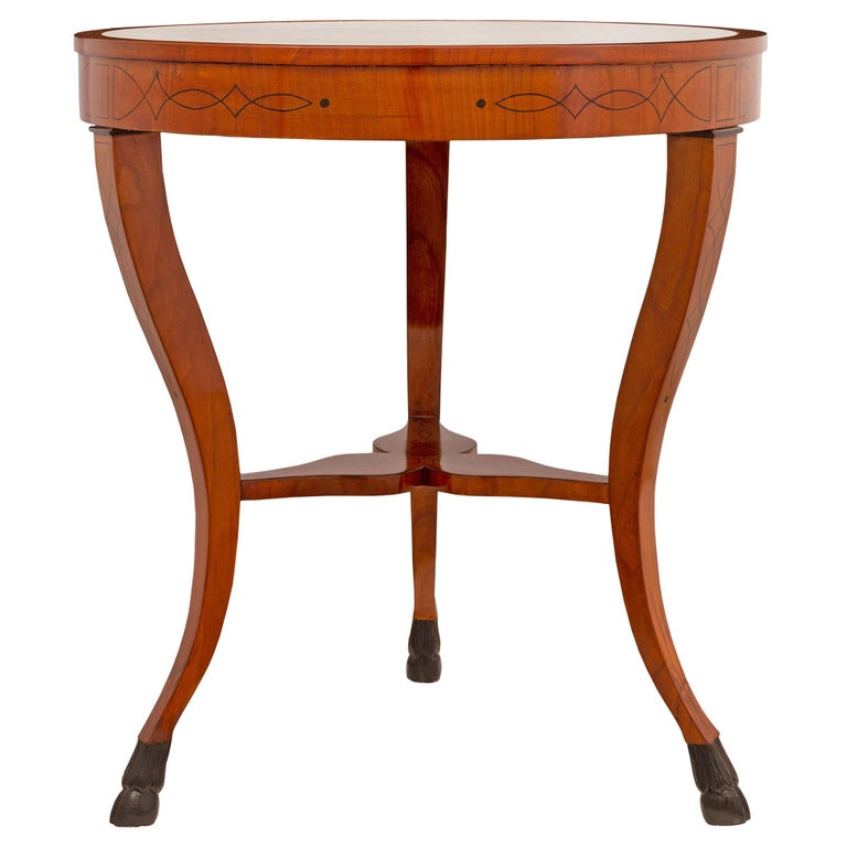 Pair of Italian 19th Century Cherrywood, Ebonized Fruitwood & Marble Side Table In Excellent Condition For Sale In West Palm Beach, FL