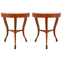 Pair of Italian 19th Century Cherrywood, Ebonized Fruitwood & Marble Side Table