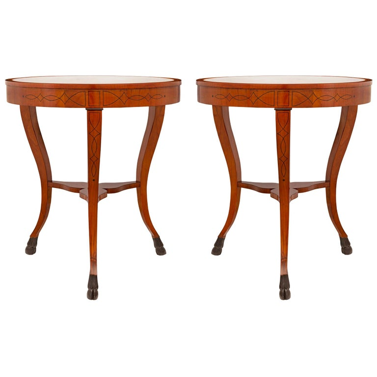 Pair of Italian 19th Century Cherrywood, Ebonized Fruitwood & Marble Side Table For Sale