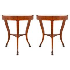 Pair of Italian 19th Century Cherrywood, Ebonized Fruitwood & Marble Side Table