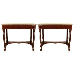 Pair of Italian 19th Century Consoles in Flamed Crouch Mahogany