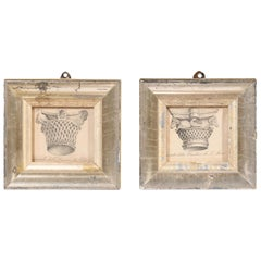 Pair of Italian 19th Century Engravings Depicting Capitals in Silver Frames