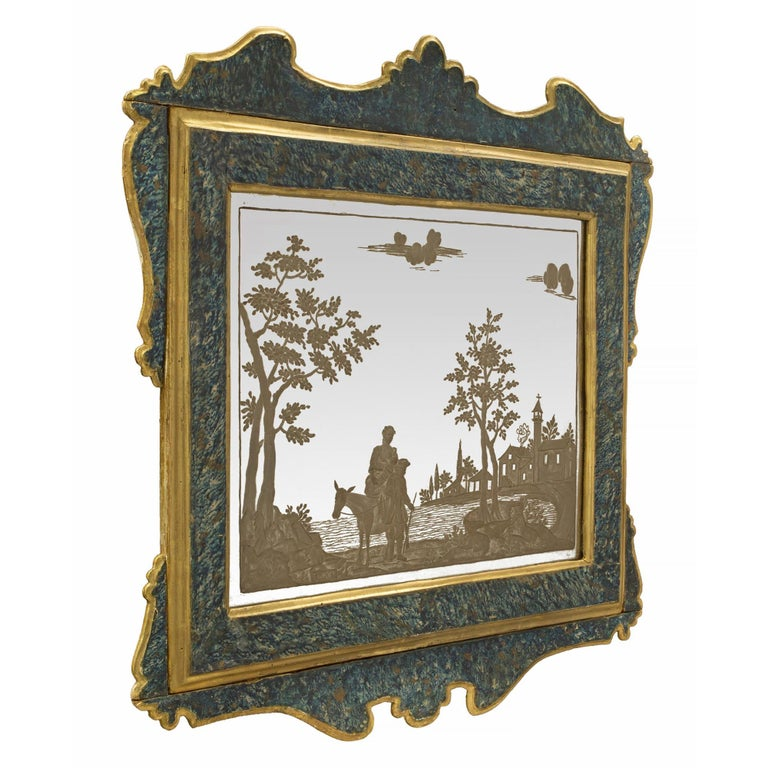 Painted Pair of Italian 19th Century Etched Mirrors For Sale