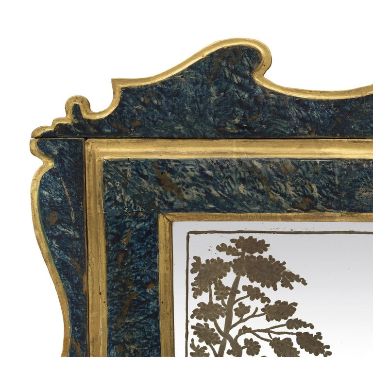 Pair of Italian 19th Century Etched Mirrors In Good Condition For Sale In West Palm Beach, FL