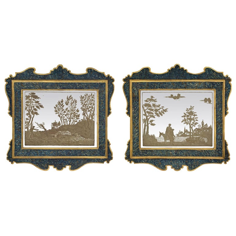 Pair of Italian 19th Century Etched Mirrors For Sale