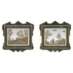 Pair of Italian 19th Century Etched Mirrors