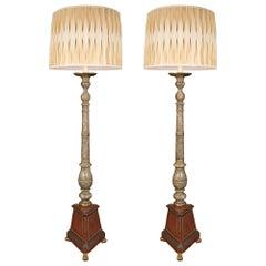Pair of Italian 19th Century Faux Painted Marble Floor Lamp