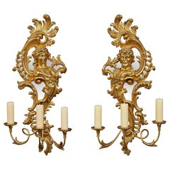 Pair of Italian 19th Century Giltwood and Mirror Three-Arm Sconces