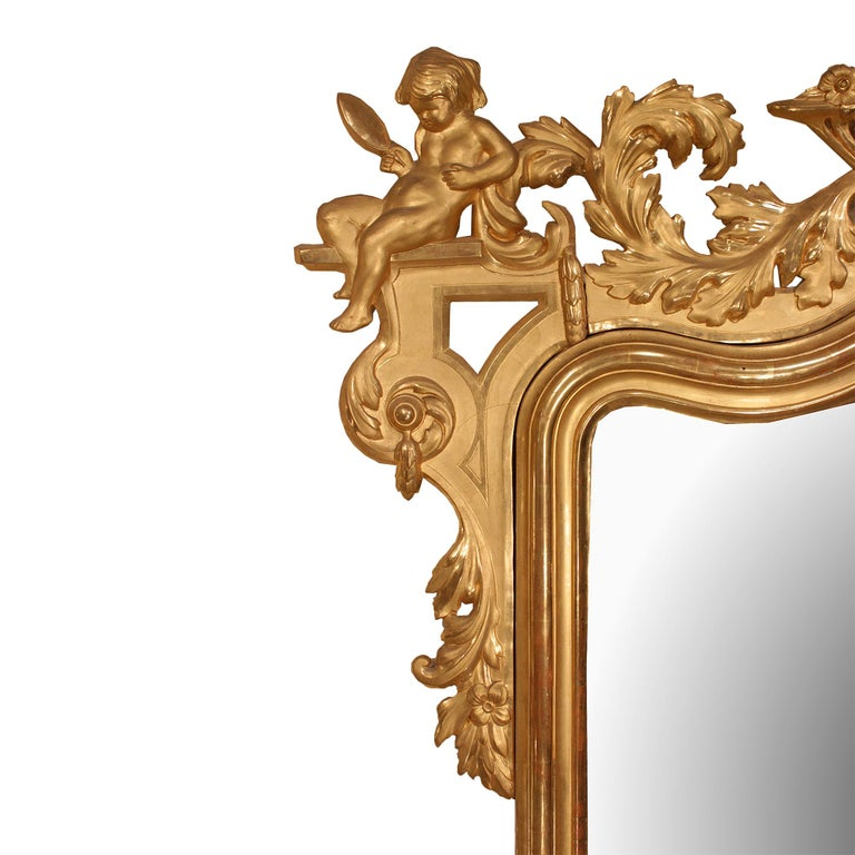 Pair of Italian 19th Century Giltwood Mirrors In Good Condition For Sale In West Palm Beach, FL