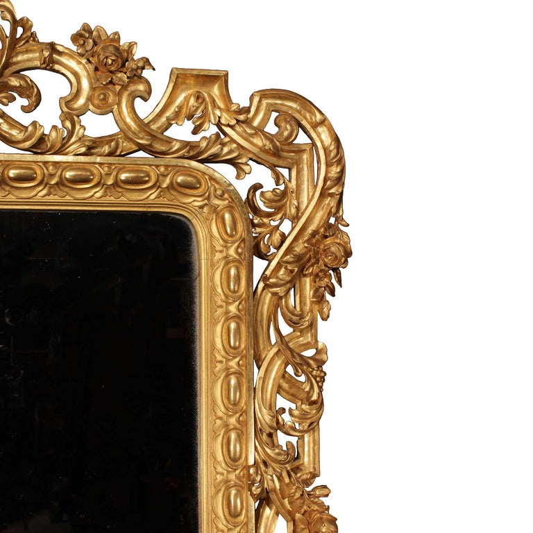Pair of Italian 19th Century Giltwood Mirrors For Sale 1