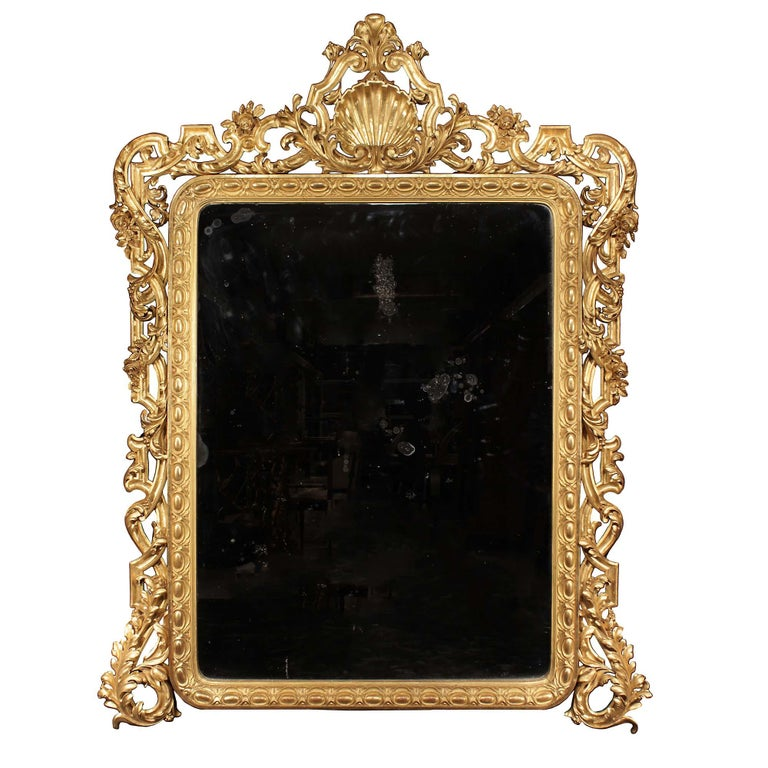 Pair of Italian 19th Century Giltwood Mirrors For Sale 4